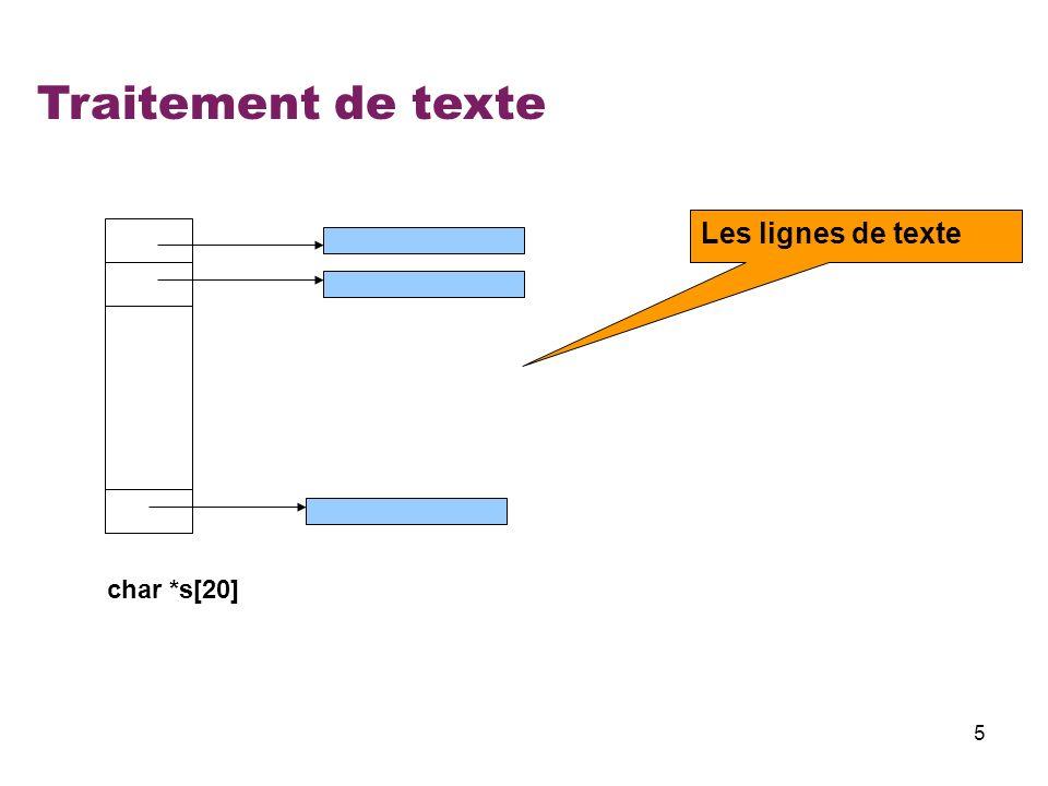 Traitement de texte Les lignes de texte char *s[20]